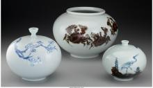 Three Korean Painted Porcelain Vases, 20th century Marks: (character marks to un