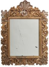 A Louis XV-Style Gesso and Giltwood Mirror, 19th century 45 inches high x 34-1/2