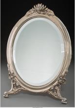 A German Silver-Framed Dressing Mirror, 20th century Marks: 800, (horse), (effac