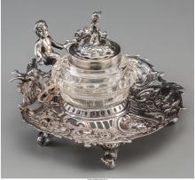 A Hanau Silver Figural Inkwell, late 19th-early 20th century Marks: (crown-quatr