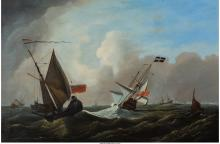 British School (19th Century) Ships in Tempest Oil on c