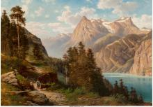 Georg Engelhardt (German, 1823-1883) Path Along an Alpi
