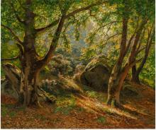French School (Late 19th Century) Dappled sunlight shin