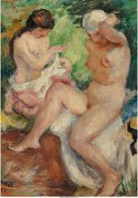 German School (20th Century) Two female nudes, 1925 Oil