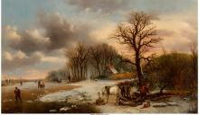 Alexis de Leeuw (Belgian, 1828-1898) Winter scene with