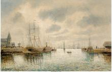 P. Marett (French, 19th Century) Fishing Boats in Zaand