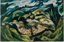 Oswaldo Guayasamín (Ecuadorian, 1920-1999) Quito Landscape  Lithograph in colors