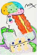 Peter Max (American, b. 1937) Clown Marker on paper 18-1/2 x 12-1/2 inches (47.0