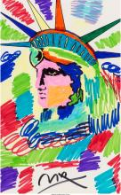 Peter Max (American, b. 1937) Liberty Profile Marker on paper 21-1/2 x 13-1/2 in