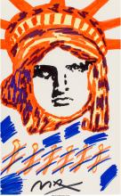 Peter Max (American, b. 1937) Liberty  Marker on paper 21-1/2 x 13-1/2 inches (5