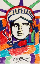 Peter Max (American, b. 1937) Liberty Marker on paper 21-1/2 x 13-1/2 inches (54