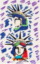 Peter Max (American, b. 1937) Liberty Heads Marker on paper 21-1/4 x 13-1/4 inch