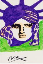 Peter Max (American, b. 1937) Liberty (purple and green) Marker on paper 21-1/2
