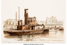 Woldemar Neufeld (American, b. 1909) The AQUA at South Street Seaport Watercolor