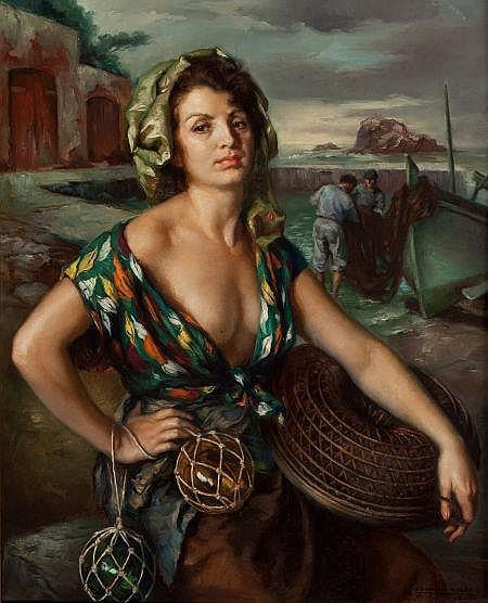 FRANCISCO RIBERA GOMEZ (Spanish, b. 1907) La Pescadora,