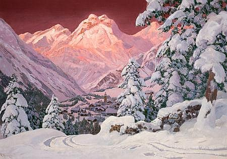 ALWIN ARNEGGER (Austrian, 1883-1916) Alpine Mountain Sc
