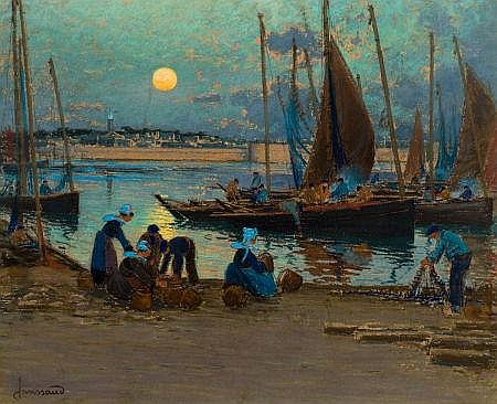 MATHURIN JANSSAUD (French, 1857-1940) Moonrise Over the