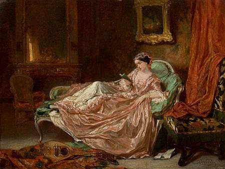 VICTOR JOSEPH CHAVET (French, 1822-1906) Woman Reading,