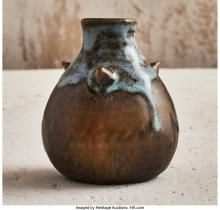 THEO PERROT (FRENCH, 1856-1942) CABINET VASE, 1908 GLAZED STONEWARE 3-3/8 INCHES