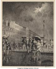 Martin Lewis (American, 1881-1962) Break in the Thunderstorm, 1930 Drypoint on l