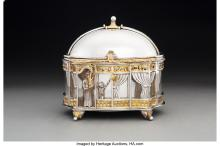 A YOSSI SWED PARTIAL GILT SILVER ETROG BOX ON STAND, 20TH CENTURY MARKS: (S OVER