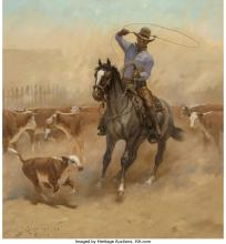 JACK N. SWANSON (AMERICAN, B. 1927) WORKING A COLT, 1975 OIL ON MASONITE 30 X 28
