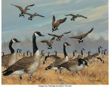 MAYNARD REECE (AMERICAN, B. 1920) CANADIAN GEESE AT HORICON OIL ON CANVAS 20 X 2