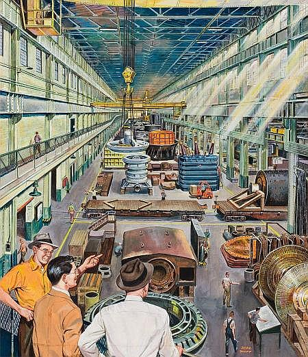 HERB MOTT (American, b. 1923) The Factory Gouache