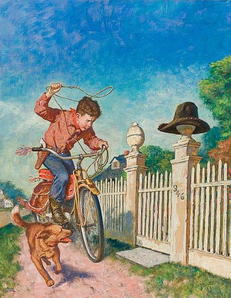 AMOS SEWELL (American, 1901-1983) Roping the Hat,