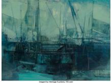 Oscar Garcia Reino (Uruguayan, 1910-1993) Barcas Acrylic on canvas 23-1/2 x 31-1