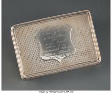 A Nathaniel Mills Partial Gilt Silver Snuff Box with Fitted Leather Case, Birmin