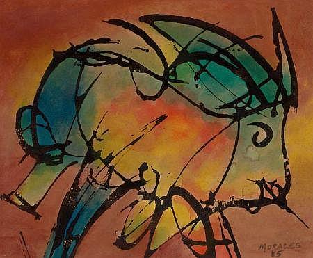 JULIAN MORALES (Cuban, 1937-1990) The Bull, 1985 Waterc