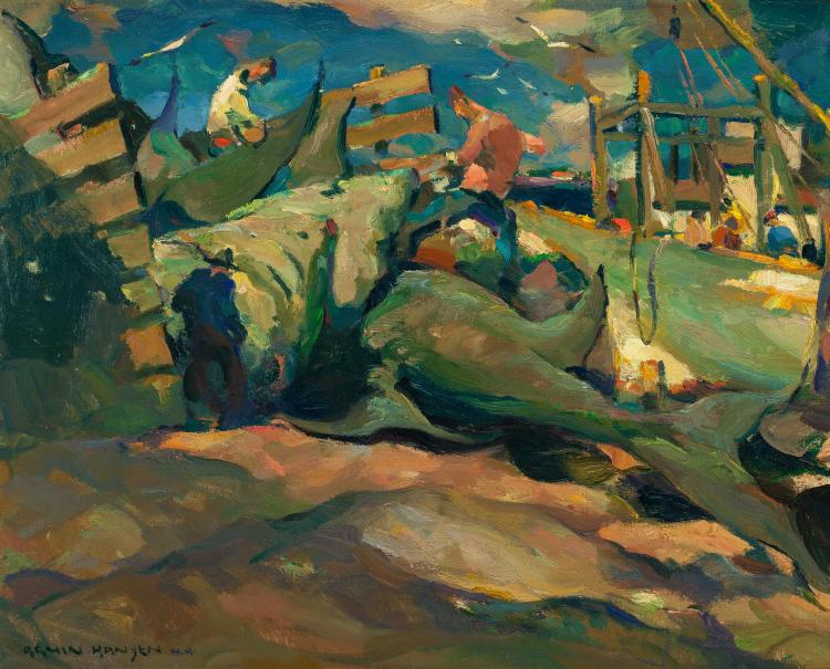 ARMIN HANSEN (American, 1886-1957) Shark Fishers Oil on