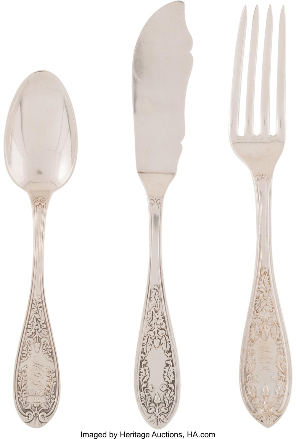 Twenty-Three Pieces of J.E. Caldwell Silver Flatware, Philadelphia, late 19th-ea