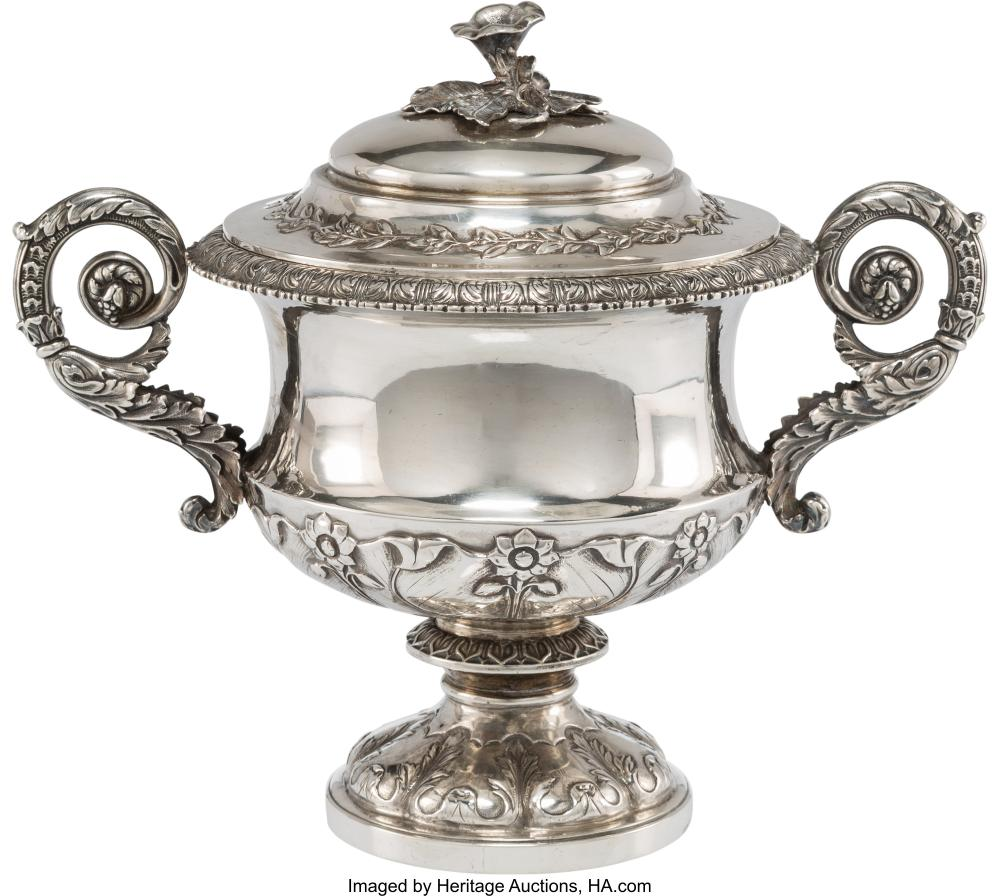 A Benjamin Preston Silver Covered Compote Retailed by Osborn, London, 1828 Marks