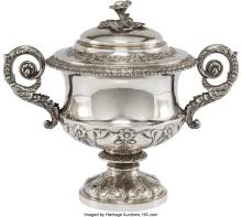 Lot 21006: A Benjamin Preston Silver Covered Compote Retailed by Osborn, London, 1828 Marks