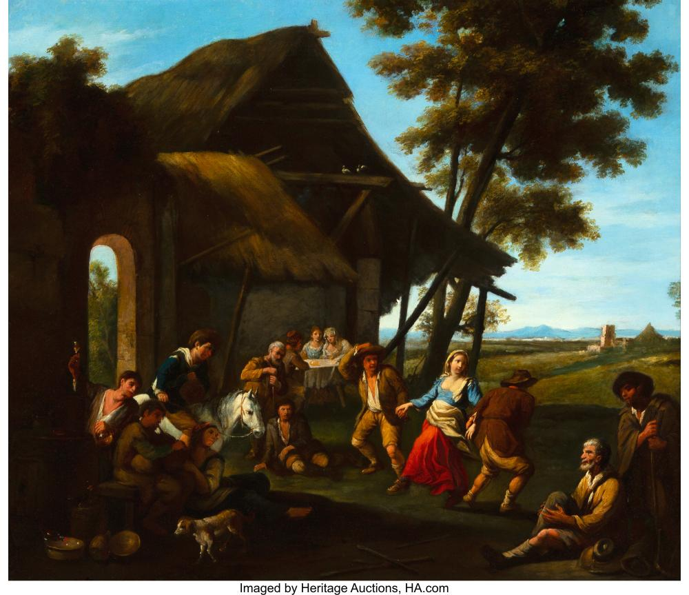 French School (18th Century) A country dance Oil on canvas 24 x 28 inches (61.0