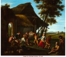 Lot 21007: French School (18th Century) A country dance Oil on canvas 24 x 28 inches (61.0