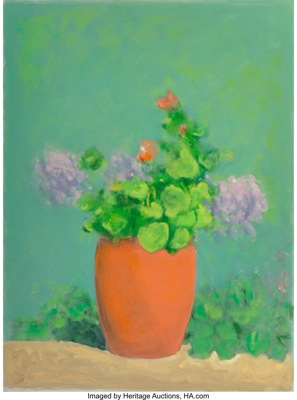 Paul Resika (American, b. 1928) Geraniums Oil on canvas 48-3/4 x 36-1/2 inches (