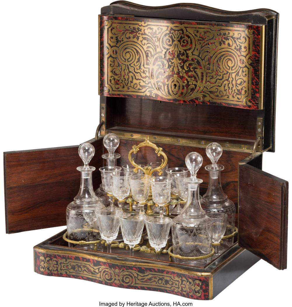 A Napoleon III Boulle-Style Marquetry Cave à Liqueur, mid-19th century 10 x 13-1