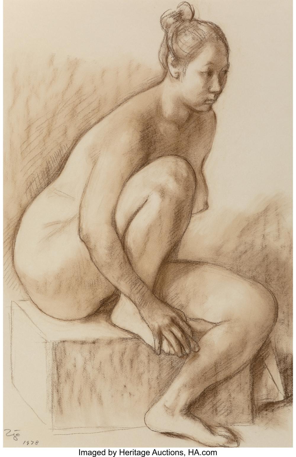 Lot 21011: Francisco Zúñiga (Mexican, 1912-1998) Desnudo sentado, 1978 Sepia crayon on Ingr