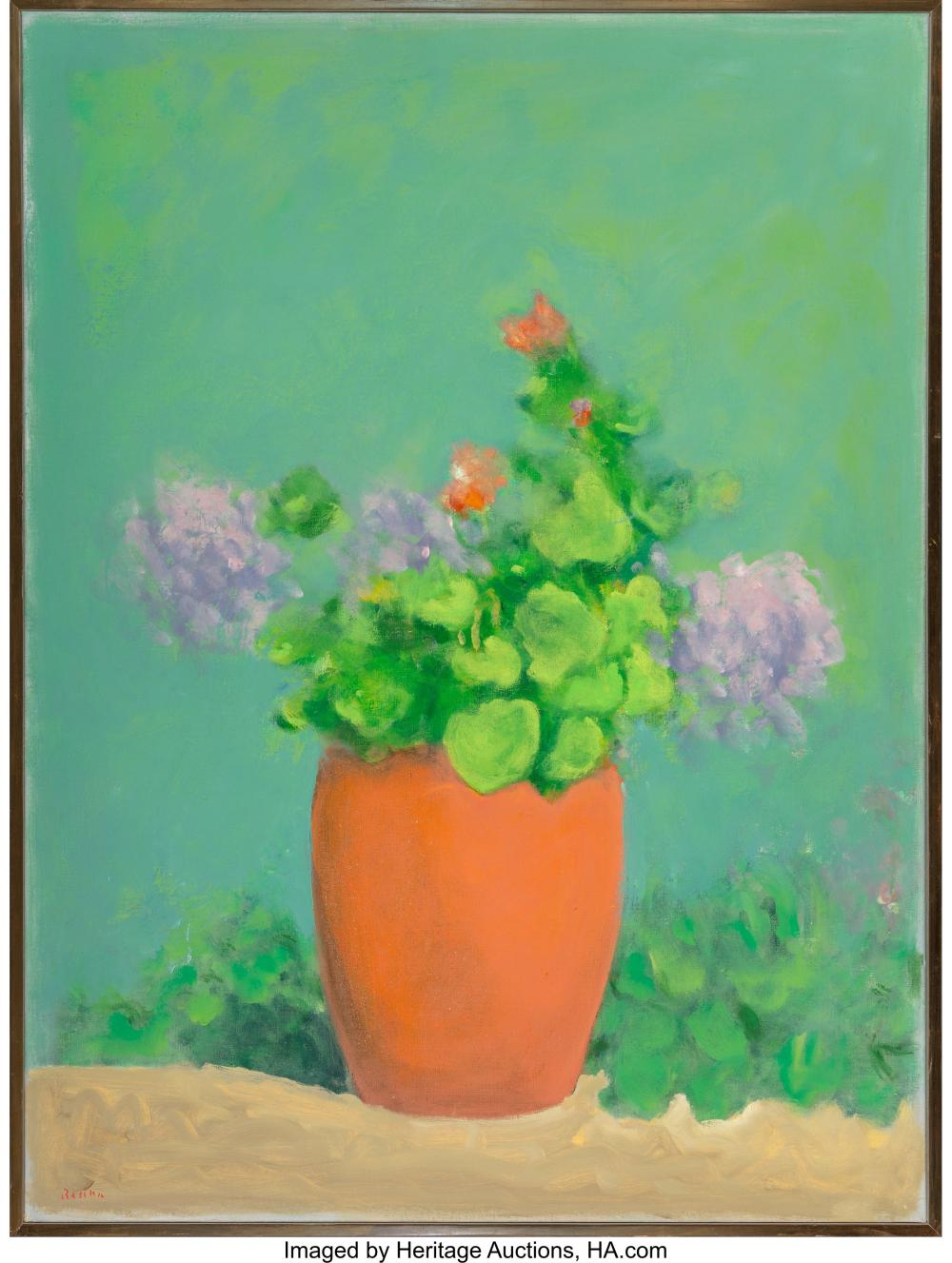 Lot 21010: Paul Resika (American, b. 1928) Geraniums Oil on canvas 48-3/4 x 36-1/2 inches (