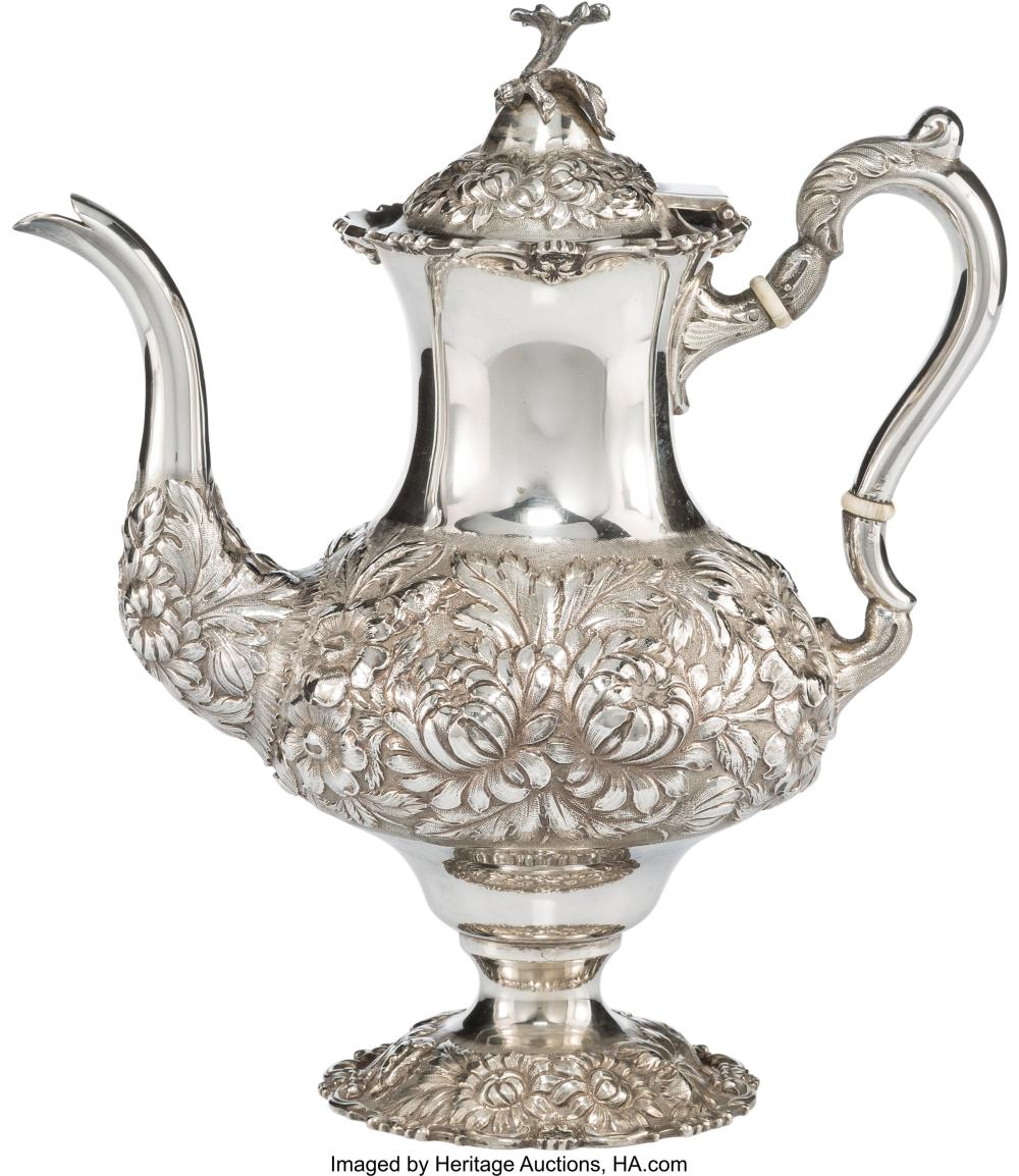 A Stieff Three-Quarter Chased Silver Coffee Pot, Baltimore, Maryland, 1933 Marks