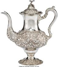 Lot 21015: A Stieff Three-Quarter Chased Silver Coffee Pot, Baltimore, Maryland, 1933 Marks