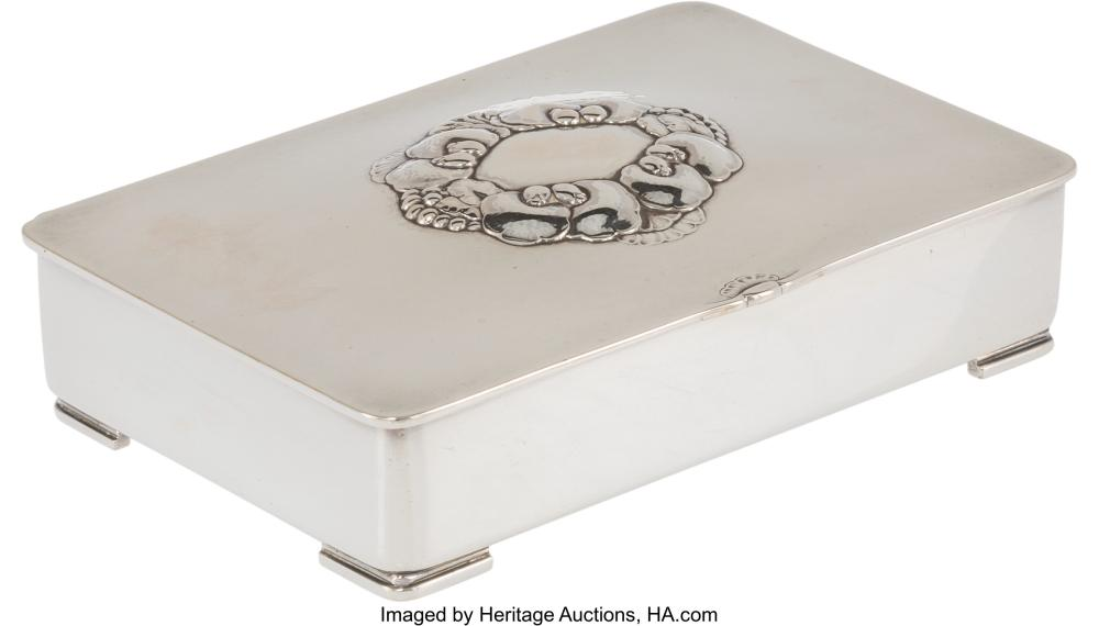 Lot 21013: A Gundorph Albertus for Georg Jensen Silver and Wood Cigarette Box, Copenhagen,