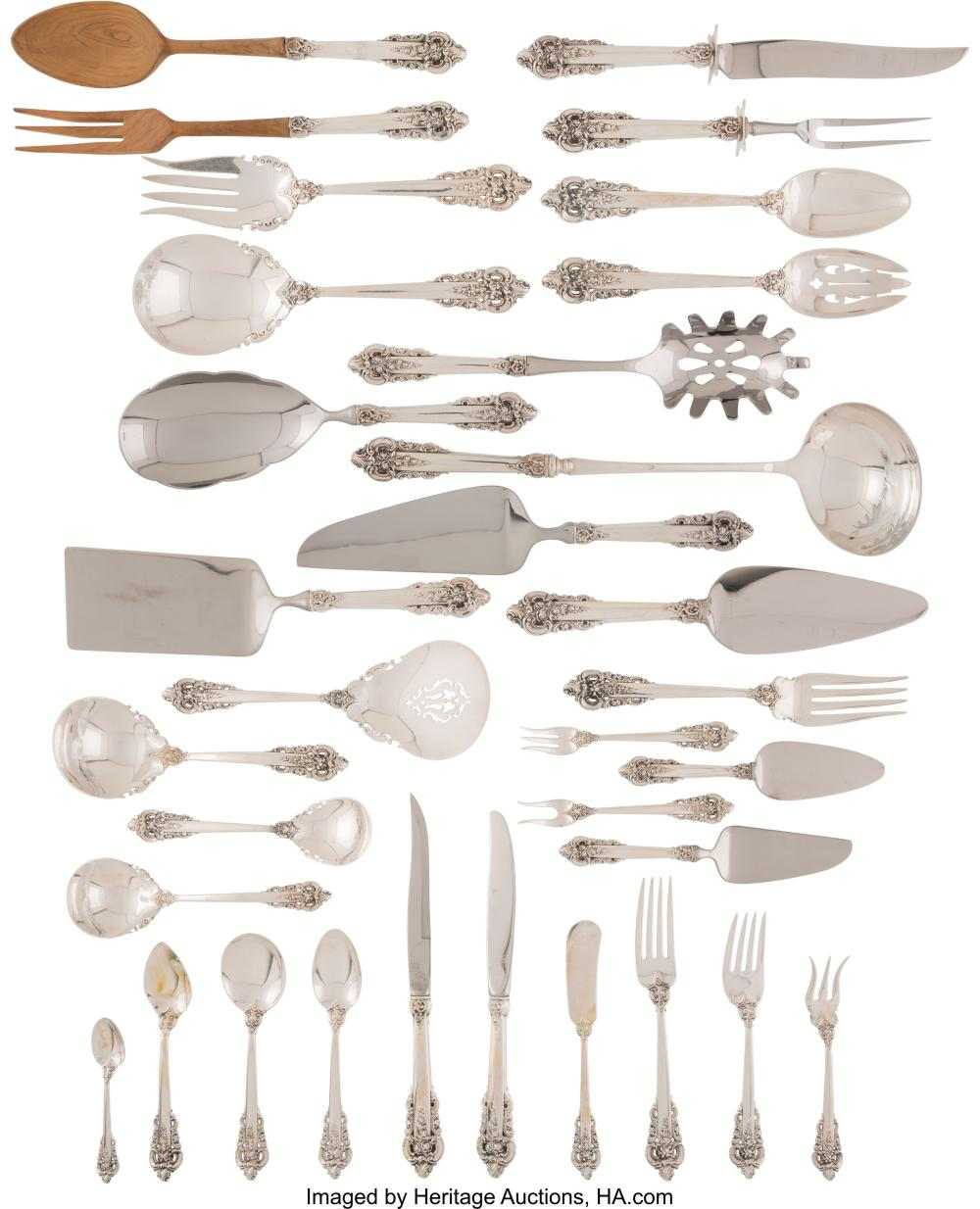 A One Hundred and Fifty-Four-Piece Wallace Grand Baroque Pattern Silver Flatware