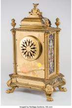Lot 21001: A French Champlevé Enameled Gilt Bronze and Brass Mantel Clock, late 19th centur