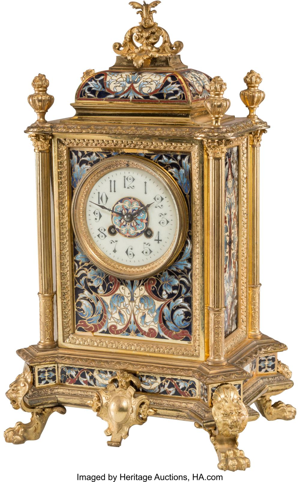 A French Champlevé Enameled Gilt Bronze and Brass Mantel Clock, late 19th centur