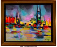 Lot 21008: Marcel Mouly (French, 1918-2008) Amsterdam, 2006 Acrylic on canvas 25-1/2 x 32 i