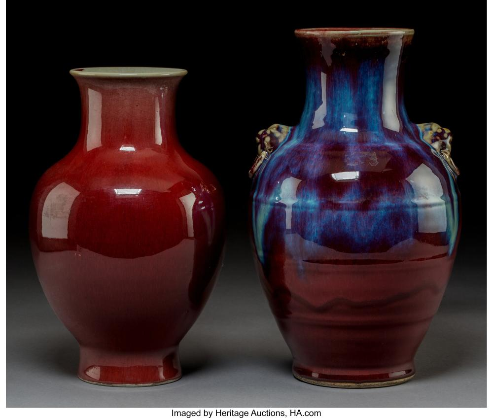 Two Chinese Flambé Glazed Porcelain Vases, Qing Dynasty  12-1/4 x 7-1/2 inches (